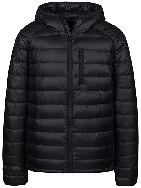 f36fc2a1ca5a4c Wantdo Men's Hooded Puffer Coats Ultra Light Weight Short Down  Jackets(Black,Small)