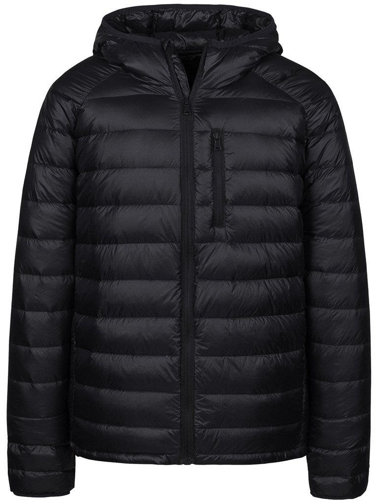Wantdo Men's Packable Insulated Light Weight Hooded Puffer Down Jacket(Black,L)