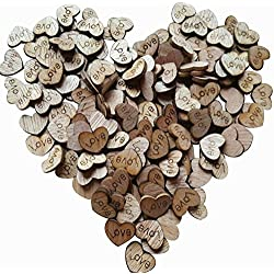 500pcs Rustic Wooden Love Heart Wedding Table Scatter Decoration Crafts