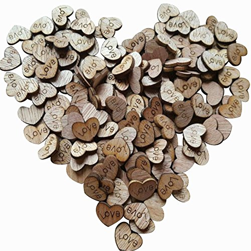200pcs Rustic Wooden Love Heart Wedding Table Scatter Decoration Crafts Children's DIY Manual Patch -