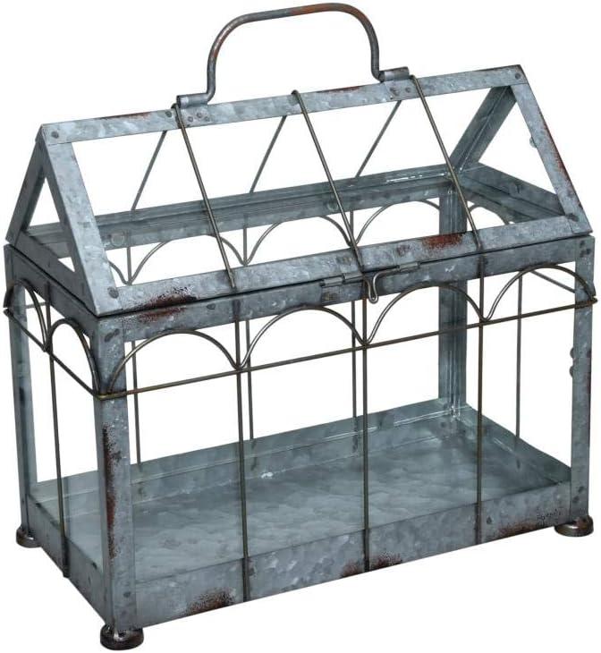 ESSCHERT DESIGN - Invernadero con Tapa con Cierre (tamaño S, 29,3 x 15,4 x 26,4 cm, Hierro y Cristal, con asa, Patas Resistentes)