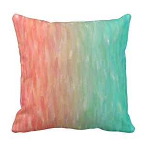 Emvency Throw Pillow Cover Coral & Turquoise Ombre Watercolor Teal Orange Decorative Pillow Case Home Decor Square 20 x 20 Inch Cushion Pillowcase