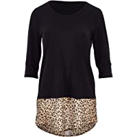 Bird Keepers Womens Blouses The Print Contrast 3/4 Sleeve Top Animal - Tops