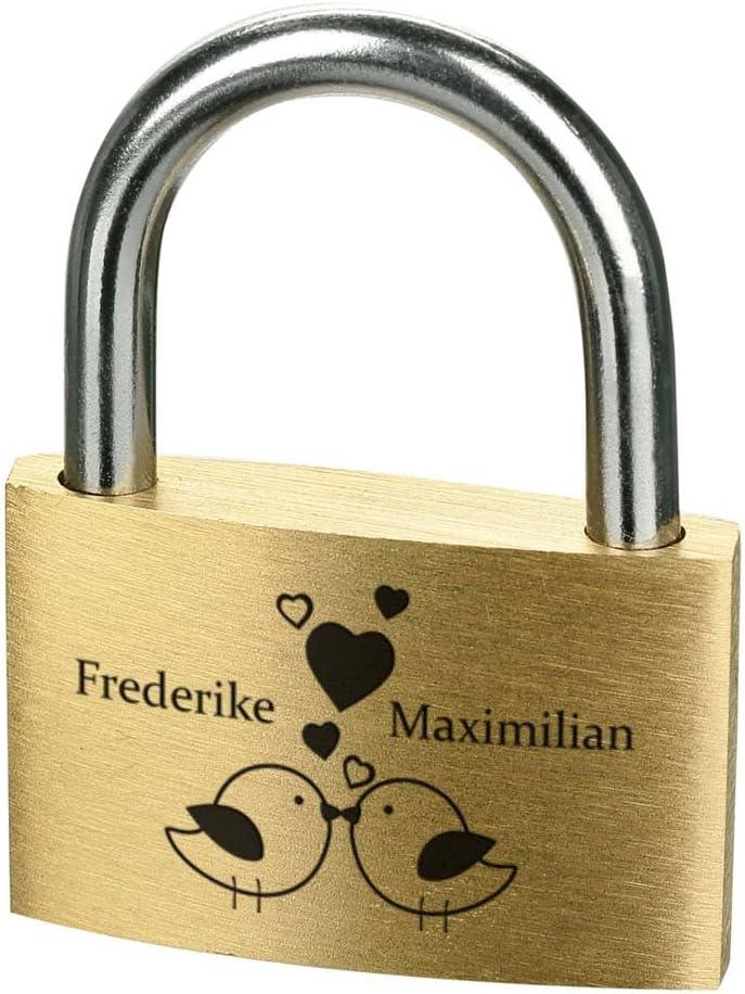 Personalisierte Geschenk f/ür verliebte Messing Vorh/ängeschloss mit 3 Schl/üssel Motiv Herz mit Gl/ück polar-effekt Liebesschloss mit Gravur