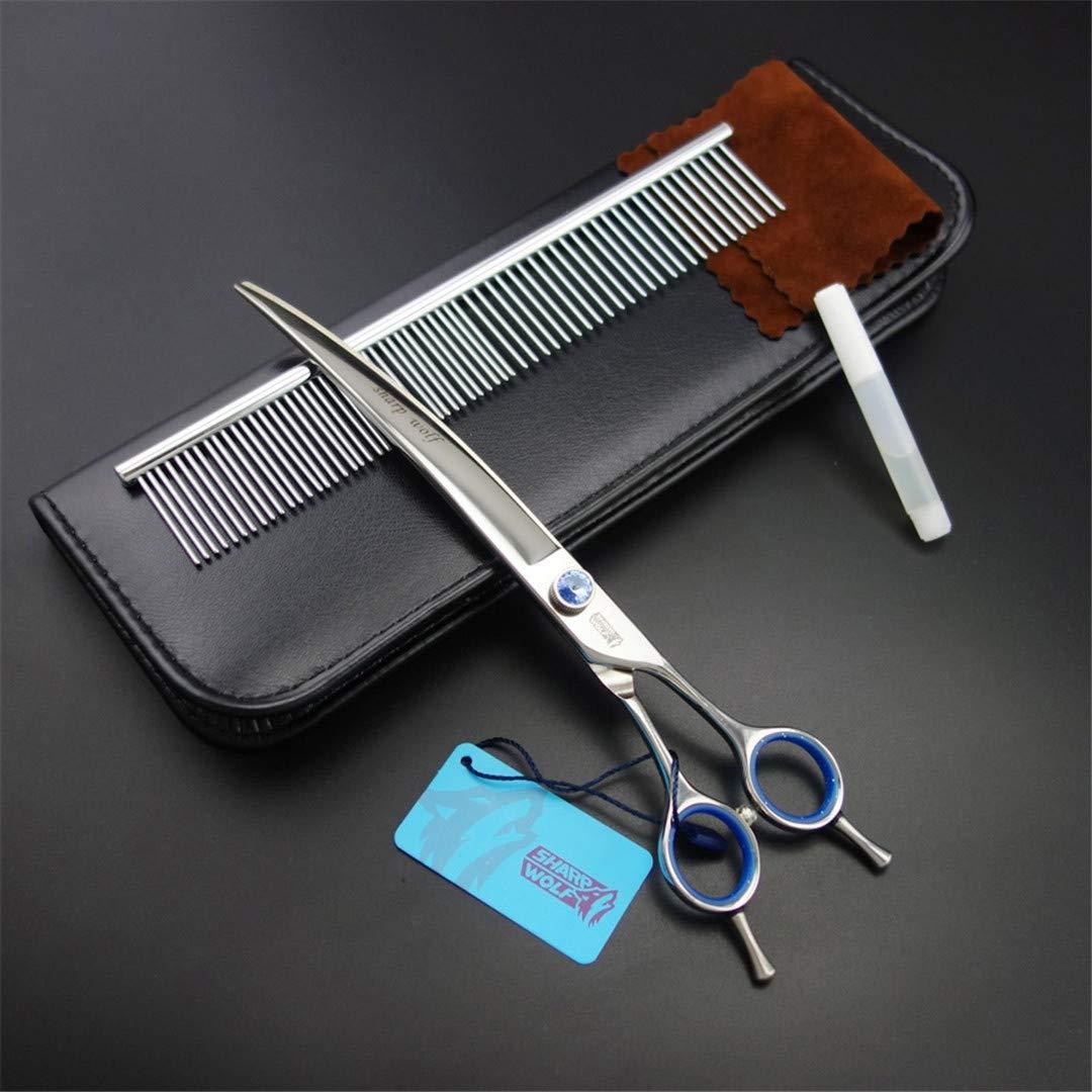 CHONGDEWSD 8 Inch Sharp Wolf SUS440C PET Grooming Scissors Curved Shears+Stainless Steel Comb+Kit-K650