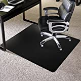 Custom Vented Chair Mats Vinyl Chair Mat for Carpeted Surfaces, Vented/Aerated to Allow Moisture to Escape, Straight Edges, Rounded Corners, Rectangle, 36'' W x 48'' L, Black