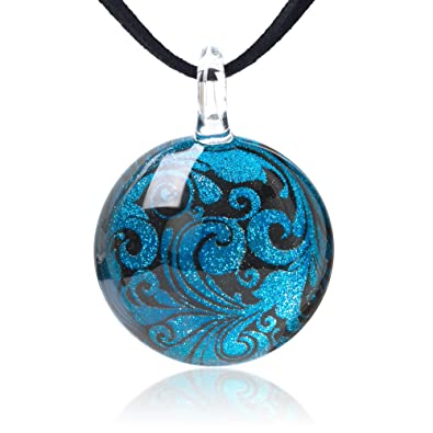 a4f68e4939 Chuvora Hand Blown Glass Jewelry Turquoise Blue & Black Abstract Flower Art  Round Pendant Necklace,