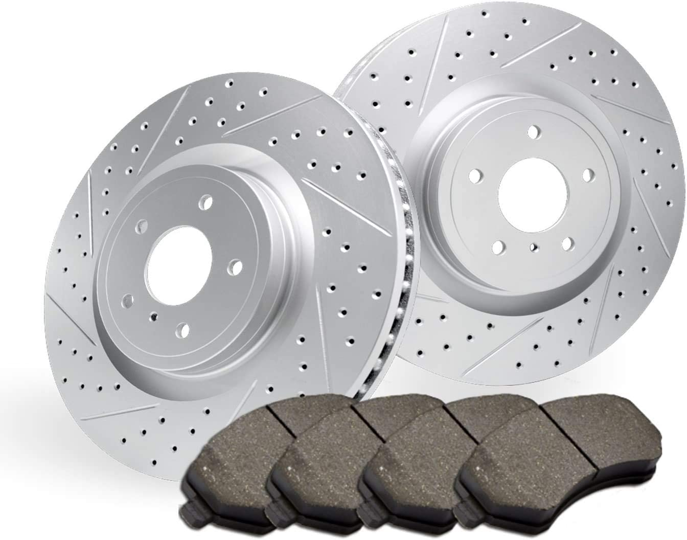 2010 For Dodge Grand Caravan Front Cross Drilled Slotted and Anti Rust Coated Disc Brake Rotors and Ceramic Brake Pads Stirling