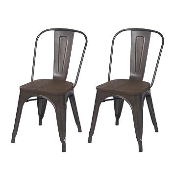 ELEGAN Metal Stackable Tolix Industrial Style Dining Chairs Black Bronze  With Wooden Indoor Outdoor Kitchen,