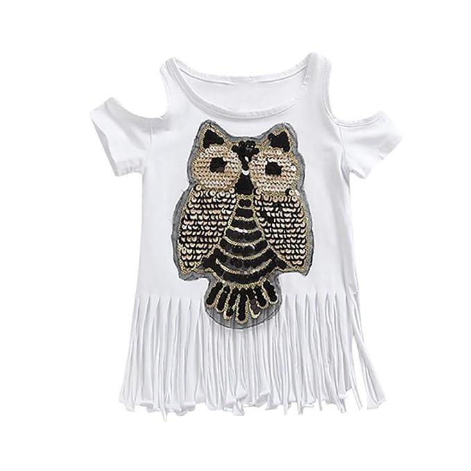 Beikoard Niña Vestido Liquidación, Faldas de Moda Niños niño niñas Owl Sequined Tassel Backless Tops
