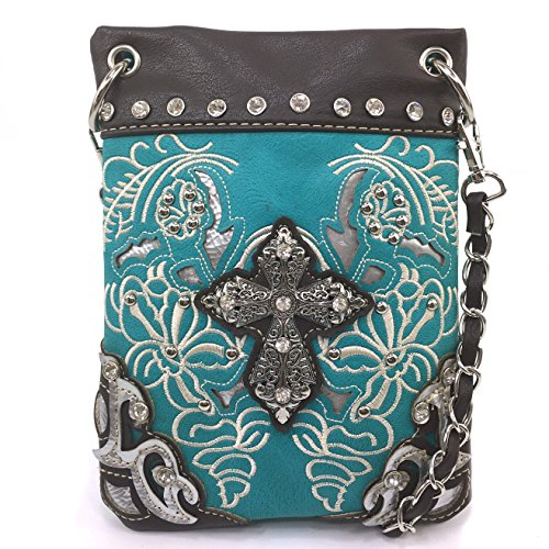 Justin West Floral Embroidery Tooled Laser Cut Rhinestone Studded Cross CrossBody Mini Handbag Phone Messenger Purse (Studded Cross Messenger)