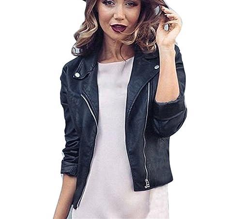 Ularma Chaqueta de la mujer de la cremallera, estilo punk, suave PU delgado abrigo de cuero negro
