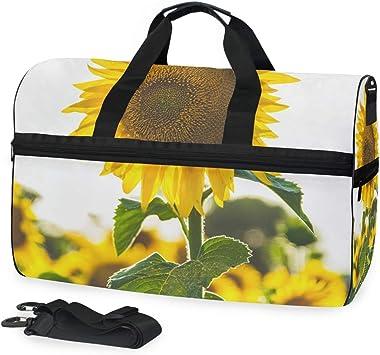 Travel Duffel Bag Waterproof Fashion Lightweight Large Capacity Portable Luggage Bag Bee Sunflowers Summer Holiday
