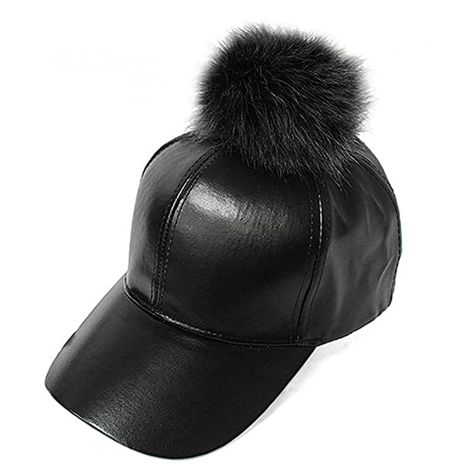 bc7aa193f73 Fur Pom Pom Adjustable Snapback Faux Leather Precurved Baseball Cap - All  Black