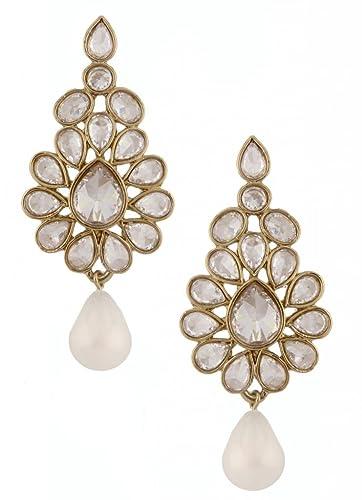 ZIVOM American Diamond Kundan Look Wild Leaf Antique Gold Plated Earring 45VFyt