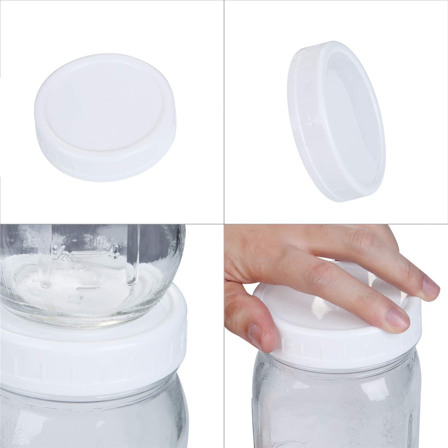 Lopbinte Regular Mouth Lids for Mason Jar Lids Plastic Storage Caps for Mason Canning Jars and More Standard Dia 70mm