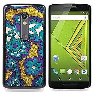 - Fabric Purple Gold Teal/ Duro Snap en el tel????fono celular de la cubierta - Cao - For Motorola Verizon DROID MAXX 2 / Moto X Play