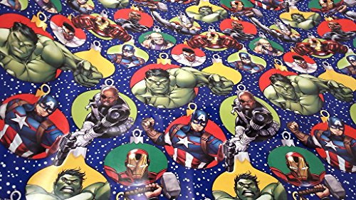 Hulk Costumes Homemade (Christmas Wrapping Captain America Thor Hulk Iron Man Holiday Paper Gift Greetings 1 Roll Design Festive Wrap Avengers Bulbs SF)