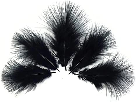 Crafts Bag Loose BLACK  Turkey Marabou Feathers for Fly Tying 1//4 ounce