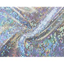 Shattered Glass Hologram 4-Way Stretch Fabric - Silver by Shavali Fabric