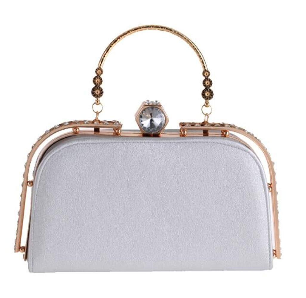 Art und Weise Diamant-verkrustete beiläufige Abend-Partei-Tasche Europa und Amerika-Handtaschen Pu-Beutel-Handtaschen für Frauen (Farbe   Silber, Größe   Einheitsgröße) B07PLJJ6RY Clutches Schönheit fängt hier an