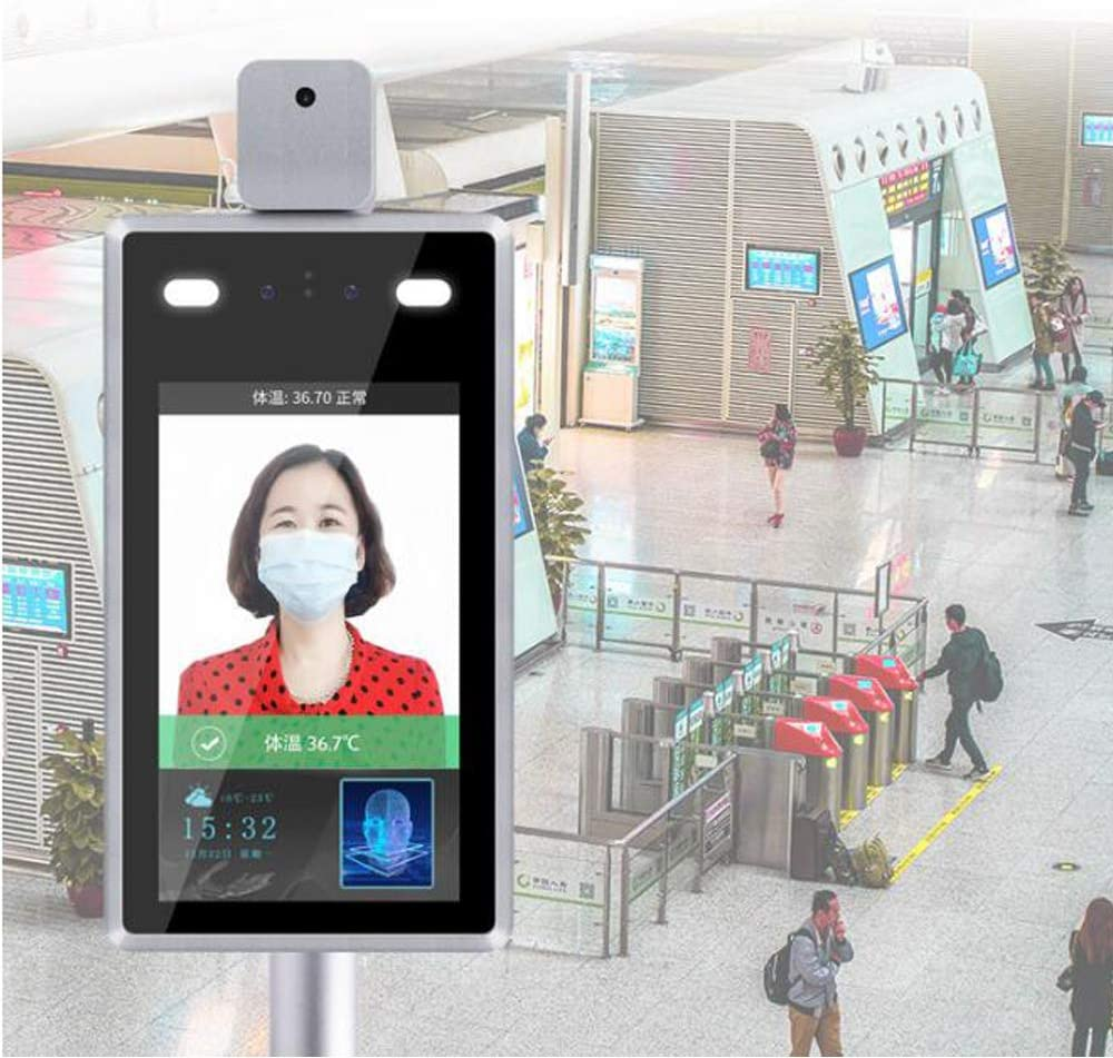 WX 8 Inch Face Recognition Temperature Measuring Integrated Machine with Fever Alert Applicable to Company Station Access Control System