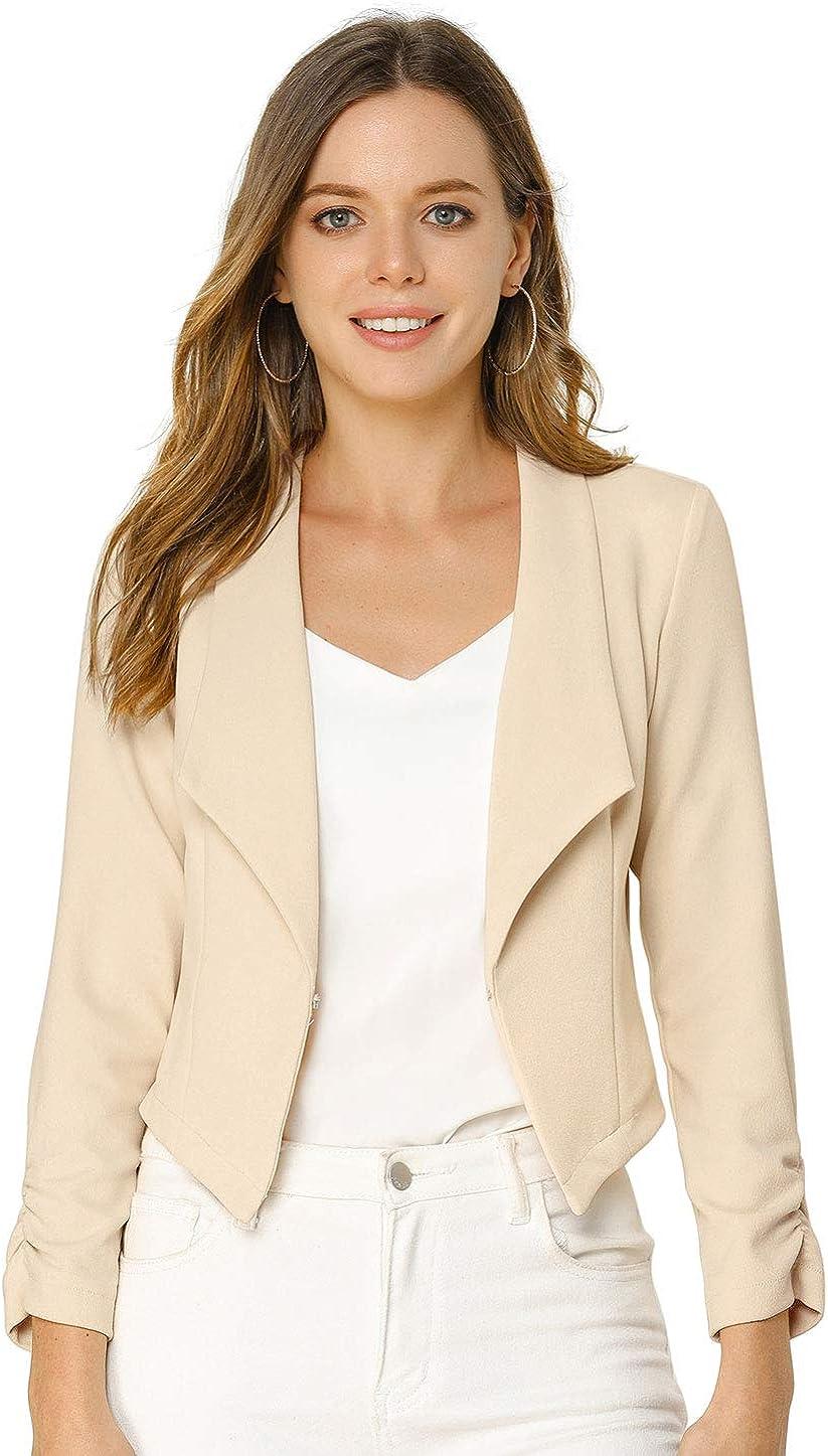 Allegra K Women's Business Crop Blazer Open Front Notched Lapel Long Sleeve Work Office Short Jacket