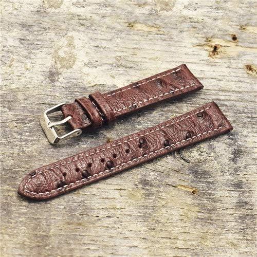 RTYW レトロなオーストリッチレザーストラップウォッチ18ミリメートル20ミリメートル22ミリメートルのダチョウ柄腕時計バンド付きクイックリリース春のバー (Band Color : Coffee, Band Width : 20mm)