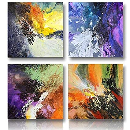 Canvaszon Abstract Canvas Wall Art For Living Room Framed Original Abstract Painting For Home Office Decoration 50x50cmx 4pcs Set Ready To Hang
