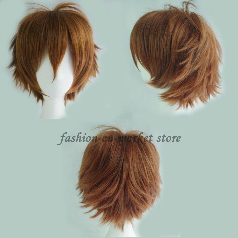 Anime Cosplay Unisex Short Straight Fluffy Full Wig Oblique Fringe with Free Elastic Weaving Wig Cap (wig, light brown)