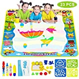 "39.37"" X 39.37"" Large Water Drawing Mat / Aqua Magic Water Doodle Mat / Water Magic Drawing Toys,Gifts for Toddler Girls Boys Age 1 2 3 4 5+ Years Old, Mess Free Coloring Painting Writing Mats"