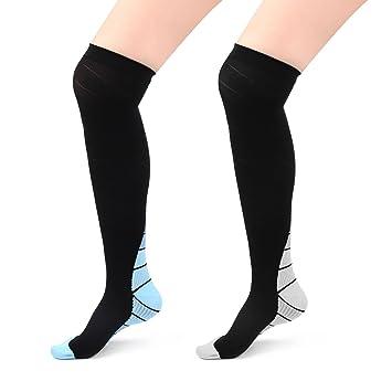 2 pares calcetines rodilla alta calcetines de compresión graduada para mujeres hombres, mejor para deporte