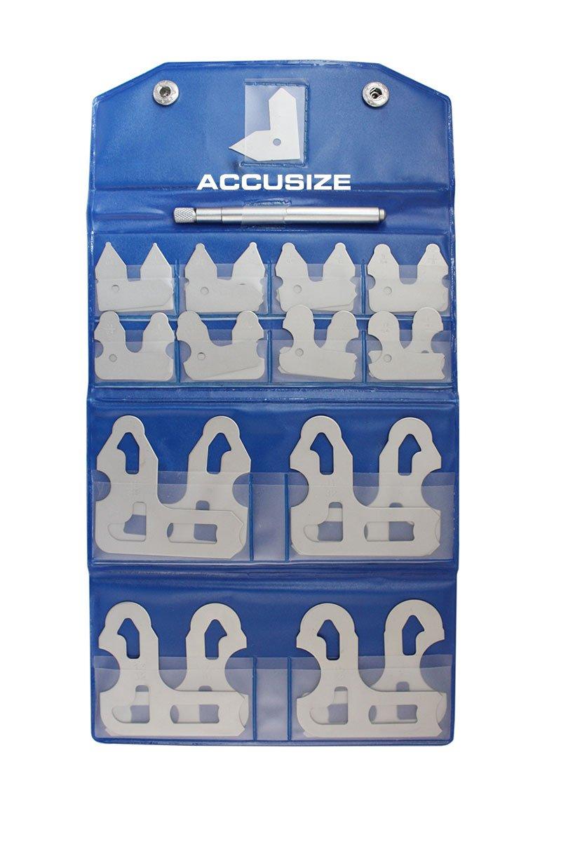 AccusizeTools 25 Pcs Set Radius Gage Set Fractional 1 64 1 2 Gages with Holder EG02 5021