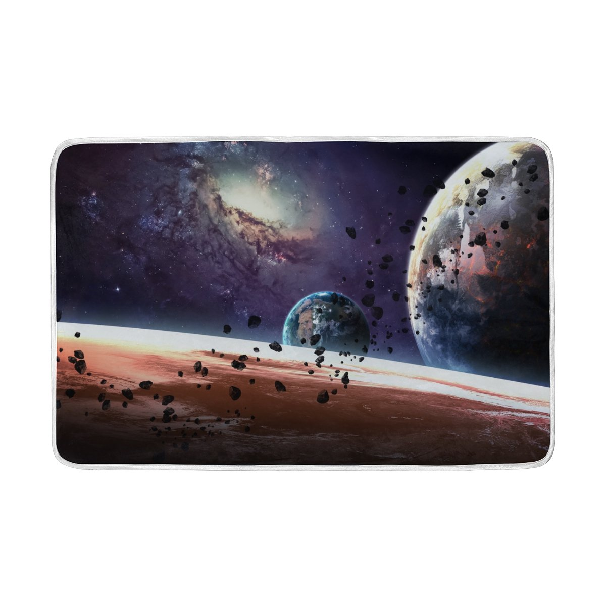 ALAZA Solar System Starry Sky Galaxy Space Nebula Planet Plush Throws Siesta Camping Travel Fleece Blankets Lightweight Bed Sofe Size 60x90inches