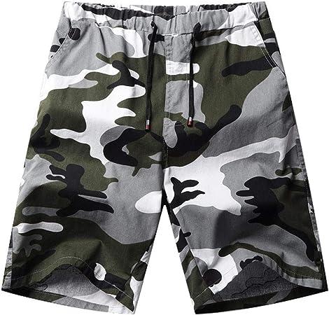 Sonnena ❤️ Pantaloncini da Uomo Summer Camouflage Pantaloni Corti Camuffamento Movimento Sportive Estate Corsa Cintura da Annodare Classico M, Cachi