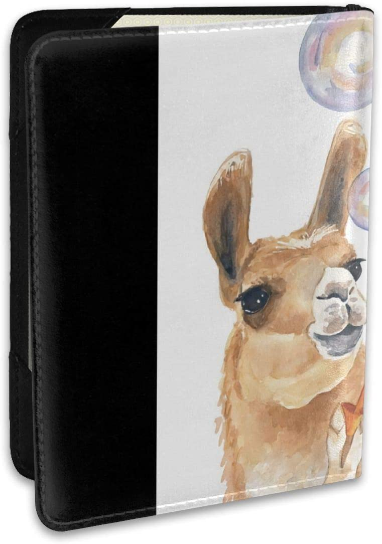 Llama Blow Bubbles Fashion Leather Passport Holder Cover Case Travel Wallet 6.5 In