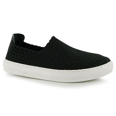 Tela fresco Tejido Slip On Zapatos Para Mujer Negro Trainers zapatillas calzado, negro