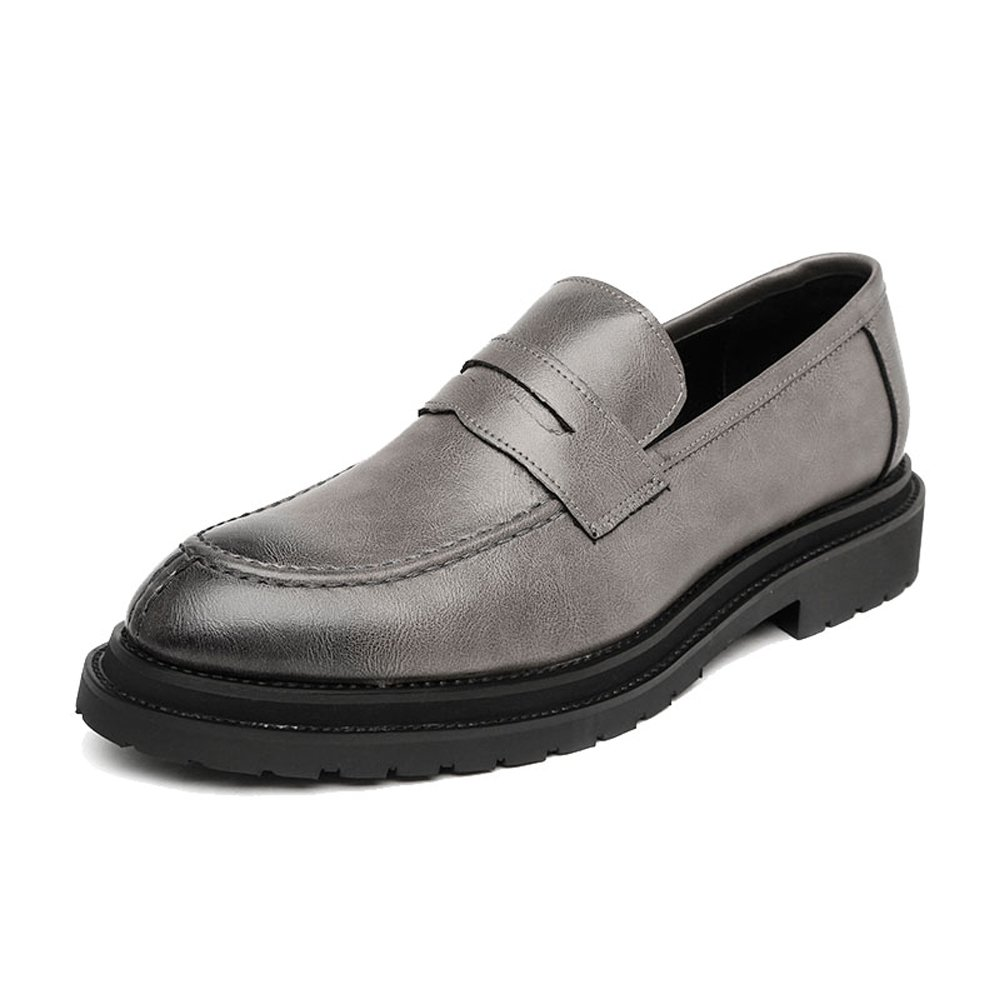 MUMUWU Mens Slip-on Shoes Smooth Frosted PU Leather Upper Loafers Gentlemen Business Outsole