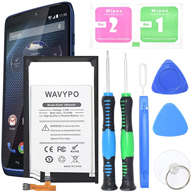 Motorola Droid Turbo Battery, Wavypo 3950mAh Li-Polymer Built-in SNN5949A EQ40 Replacement