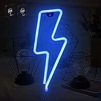 Umitive Letreros de Neon Rayo, Luz Neón LED con 2 Ganchos, Batería o USB Accionado, Ahorro de Energía, Señal de Neón…