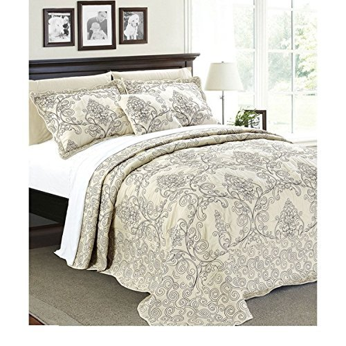 4pc 120 X 120 Light Beige Oversized Damask Bedspread King Floor, Hangs Over Edge Floral Bedding Drops Side Bed Frame Drapes Large Extra Wide Long French Country Pattern, Polyester by OSD