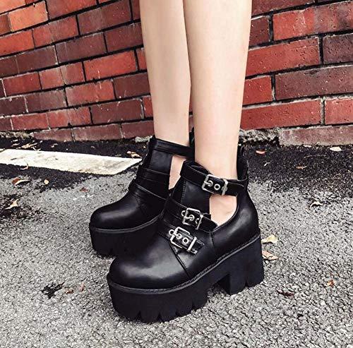 Tobillo 40 Mary Gruesas 34 7Cm Zapatos UE Zapatos Tamaño Corte Hebilla Cinturón Mujeres Jane De Fondo Black Talón Zapatos Roma Botín Hueco Cuña t1RwOqd