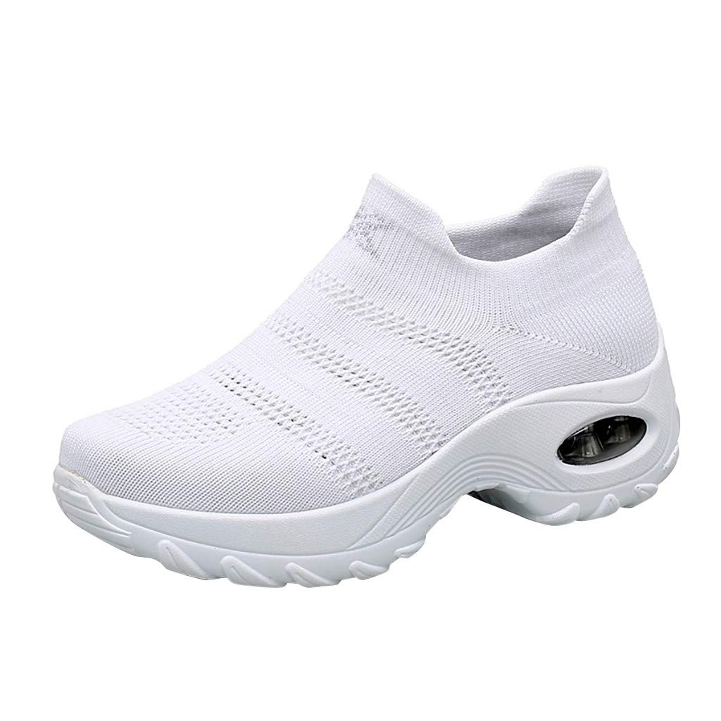 Women's Breathable Mesh Sneakers, Casual Wedge Air Cushion Sport Loafers Shoes Slip On Thick Bottom Shake Shoes Size 5-8.5 (White, US:7) by Aritone - Shoes
