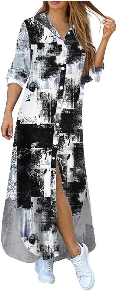 Amazon.com: ZBYY Women's Long-Sleeve Shirt Dress Casual Button ...