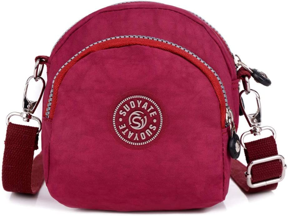 CZHJG Mochila Bolsa De Flores Bolsa De Nylon Bolsa Femenina Hombro Diagonal Cruz Bolsa Bolsa Multicapa para Mujer Moda Hermosa Bolsa Rosa Roja