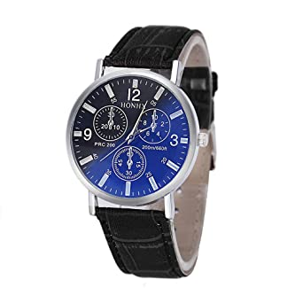 Clearance Mens Quartz Watches COOKI Analog Mens Relojes Leather Wrist Watches for Men-A35