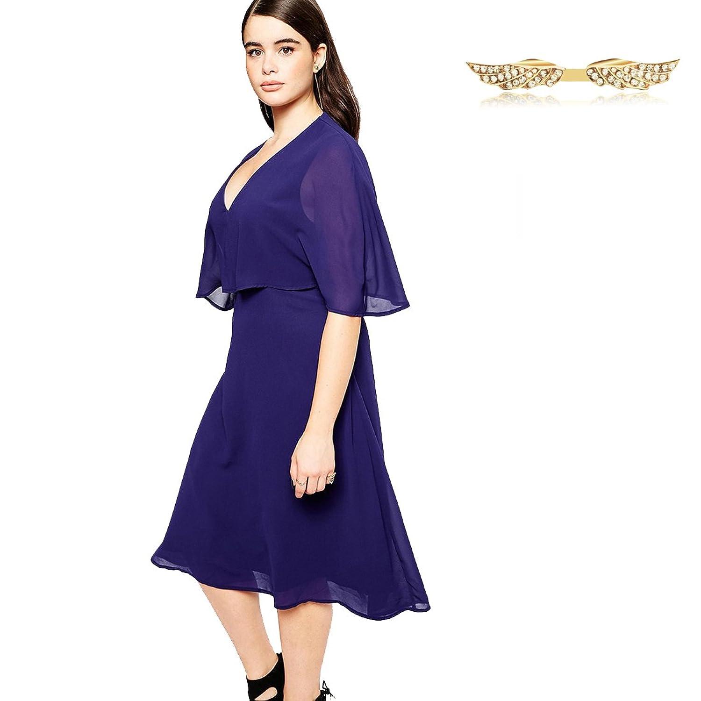 Angelwing Damen Plus-Size Kleider Casualkleider Sommerkleid Kurzarm ...