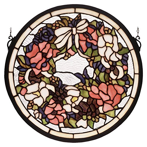 Meyda Tiffany 48324 Revival Wreath & Garland Medallion Stained Glass Window, 15