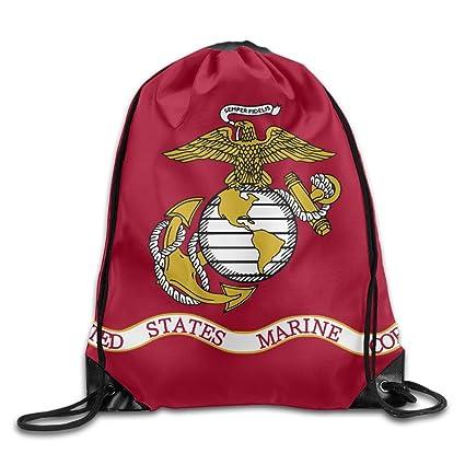 a92b6795e952 OLGCZM Flag Of The United States Marine Corps Drawstring Backpack Bag  Shoulder Bags Gym Bag For Adult