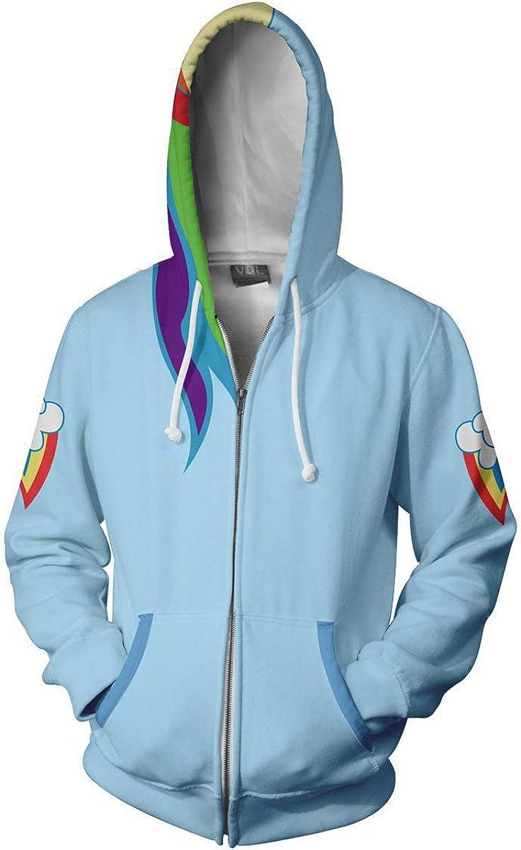 Xinxin Rainbow Dash Anime 3D Cosplay Cardigan Zip Hoodie/Unisex Adult